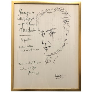 1950s Vintage Picasso Tribute to Antonio Machado Lithograph Poster For Sale