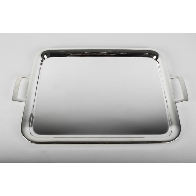 Large Vintage English Plated Serving Tray / Barware For Sale - Image 4 of 5