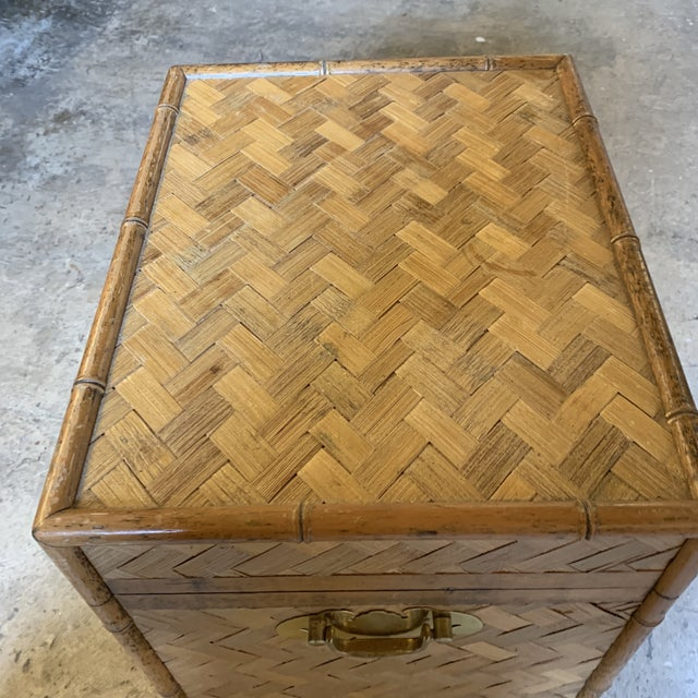 Vintage Rattan Chest Drink Table For Sale - Image 4 of 11
