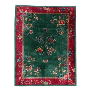 1920s Antique Green Ground Art Deco Chinese Rug For Sale