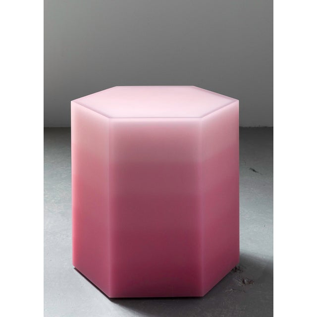 "Contemporary ""Hex Stool, Gradient, Pink Resin"", Resin, Wood, 2018, Facture Studio For Sale - Image 3 of 3"