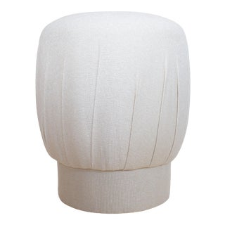 1980s Art Deco Cream Pouf Ottoman Stool For Sale