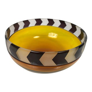 1990s Vintage Correia Limited Edition Chevron Art Glass Bowl For Sale