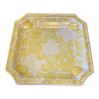 Vintage 1970s Yellow Floral Plate For Sale