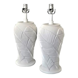 White Plaster Banana Leaf Lamps - a Pair - Completely Restored - Tropical Palm Beach Boho Chic Mid Century Modern Coastal For Sale