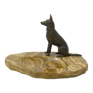 1930s Bronze German Shepherd Dog on Marble Dish For Sale