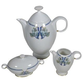 Lalique 3-Piece Limoges Porcelain Mures Blackberry Coffee Set For Sale