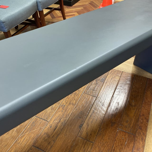 Wood Late 20th Century Karl Springer Style Arch Gray Console Table For Sale - Image 7 of 8