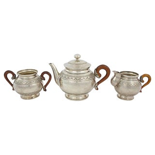 Silver-Plate Tea Set, 3 Pcs For Sale