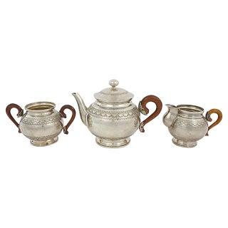 Silver-Plate Tea Set, 3 Pcs For Sale