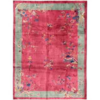 1920s Antique Chinese Art Red and Green Deco Rug- 9' X 11'7 For Sale