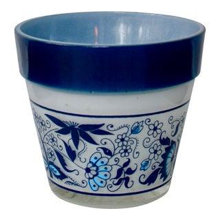 Vintage Blue & White Ceramic Indoor Planter For Sale