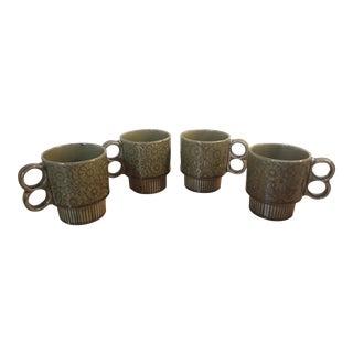 1960s Avocado Green Mugs - Set of 4 For Sale