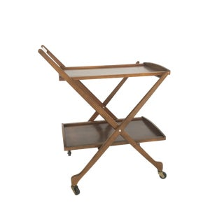 Mid-Century Modern Walnut Folding Bar Cart
