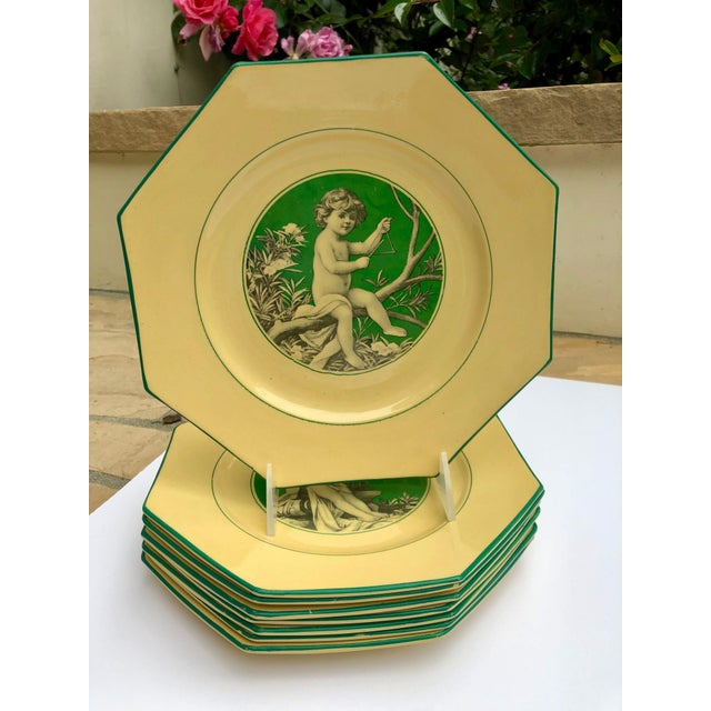 French Sarreguemines Majolica Cupid Plates - Set of 8 For Sale In Los Angeles - Image 6 of 13