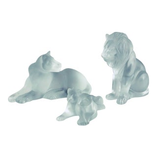 Lalique Crystal Vintage Lion Family Figurines - Bamara, Simba, and Tambwee Lion Cubs - Set of 3 For Sale
