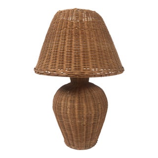 Wicker Urn Lamp With Wicker Shade For Sale