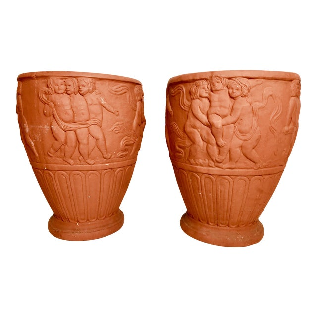 Italian Terra-Cotta Cherub Relief Garden Pots - a Pair For Sale