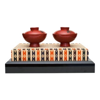 Late Shōwa Japanese Lacquered Wood Covered Bowls on Tatami Mat For Sale