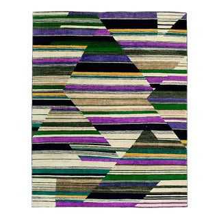 Nepalese Colorful Deco Geometry Rug - 3' X 5' For Sale
