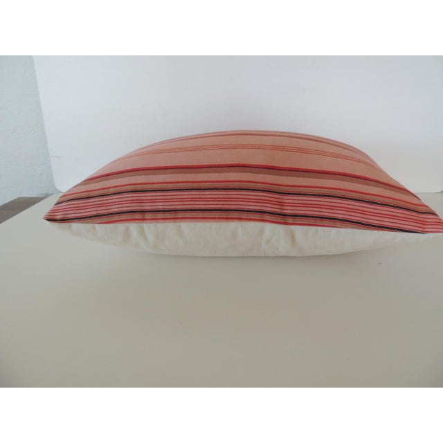 French Provincial Vintage French Pink and Red Stripes Lumbar Decorative Pillow For Sale - Image 3 of 5