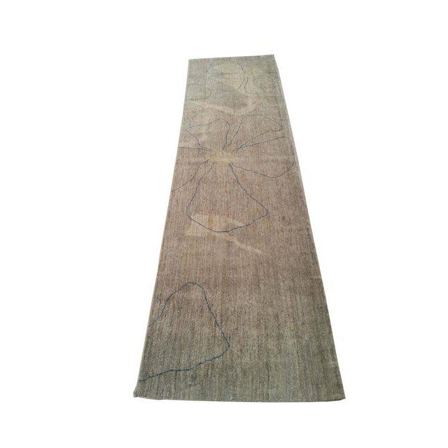 Modern design handmade knotted rug. It is a modern rug made of fine wool in beautiful colors of gray, blue. Excellent...