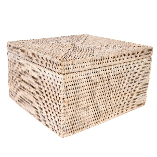 Boho Chic Artifacts Rattan File Box With Lid For Sale - Image 3 of 6