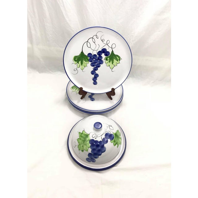 Blue Portuguese Hand-Painted Terra-Cotta Dishes, Set of 6 For Sale - Image 8 of 8