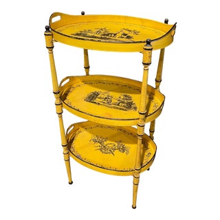 Mid-Century French Hand Painted Three-Tier Tole Side Table For Sale