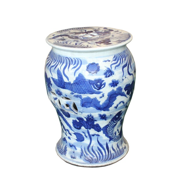 Chinese Distressed Blue & White Porcelain Round Fishes Stool For Sale - Image 4 of 9