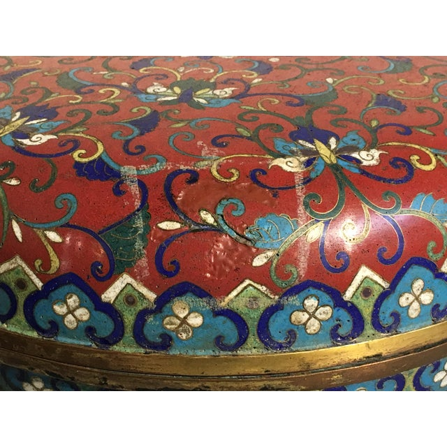 Large Chinese Qing Dynasty Red Cloisonné Round Box - Image 8 of 10