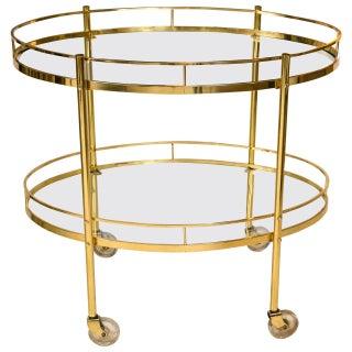 Mid-Century Brass Bar Cart For Sale