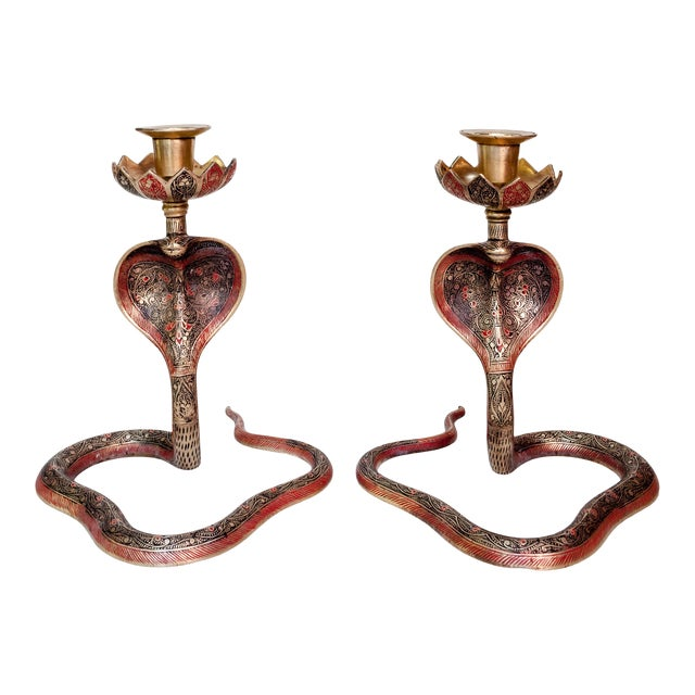 Brass Enameled Cobra Candle Holder - a Pair For Sale