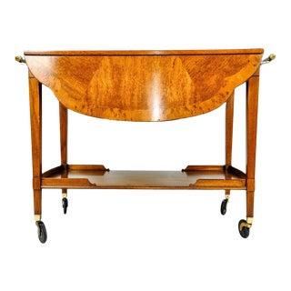 Vintage Satinwood Mahogany Bar Cart / Tea Trolly For Sale