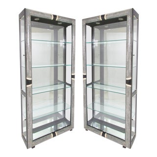 Art Deco Display Cabinets in Tessellated Stone - A Pair For Sale