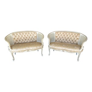 Vintage French Louie XV Style Cain Back Tufted Upholstered Love Seat - a Pair For Sale