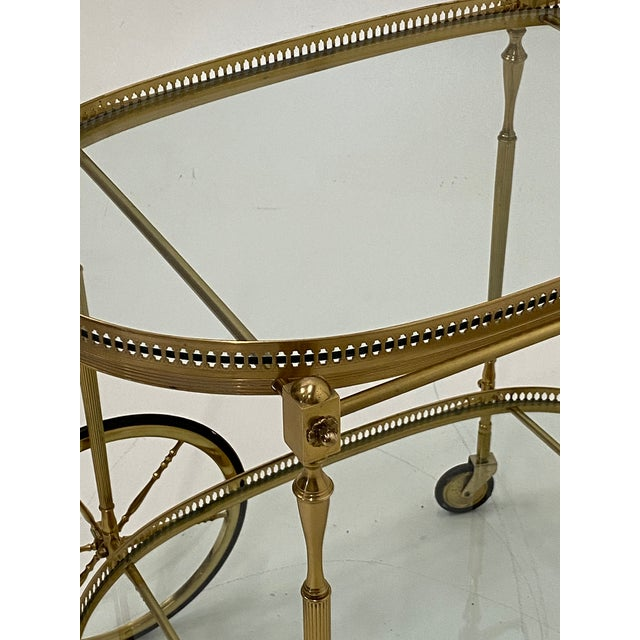 Mid-Century Modern Mid-Century Modern Oval Brass & Glass Bar Cart For Sale - Image 3 of 12