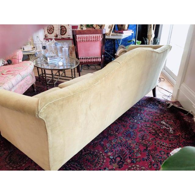 Vintage Tobacco Color Velvet Camel Back Sofa For Sale In Saint Louis - Image 6 of 10