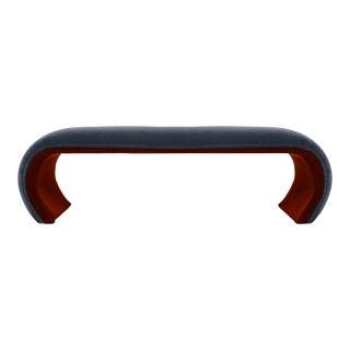 1970s Mid-Century Modern Karl Springer Two-Tone Mohair Velvet-Clad Waterfall Bench - Red & Gray For Sale