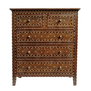 Bone Inlay Wood Tall Dresser For Sale