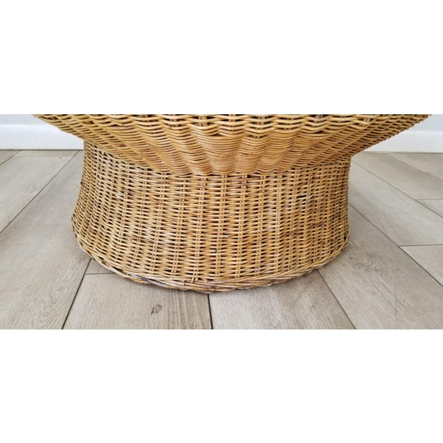 1960's Postmodern Eero Aarino Attributed Wicker Chairs and Coffee Table - Set of 3. For Sale - Image 11 of 13