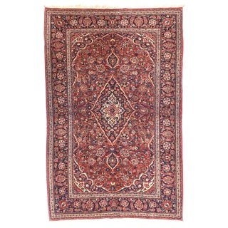 """1920s Antique Kashan Persian Rug-4'4"""" X 7'2"""" For Sale"""
