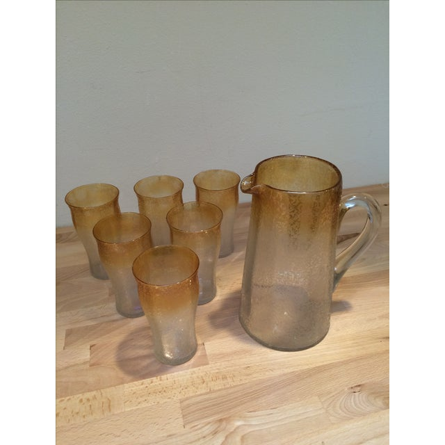 Mid-Century Modern Mid-Century Crackle Glass Pitcher & Six Glasses For Sale - Image 3 of 8