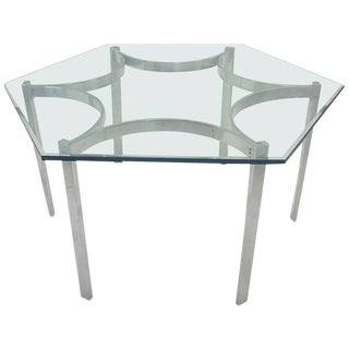Mid-Century Modern Aluminum Dining Table With Hexagonal Glass Top For Sale