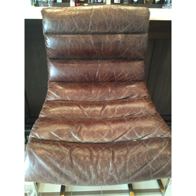 Restoration Hardware Oviedo Leather Bar Stool - Set of 3 For Sale In Tampa - Image 6 of 6
