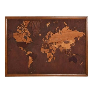1950s World Map Exotic Wood Custom Hand Carved Carpentry Wall Art For Sale