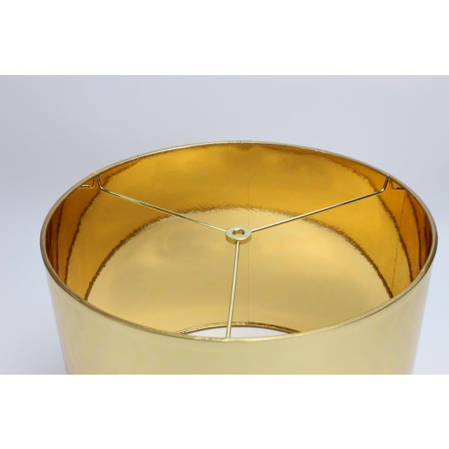 Large Gold High Gloss Drum Lamp Shade For Sale - Image 6 of 6