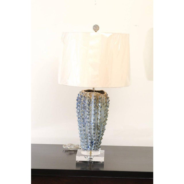 1980s Fabulous Pair of Textured Portuguese Ceramic Vessels as Custom Lamps For Sale - Image 5 of 10