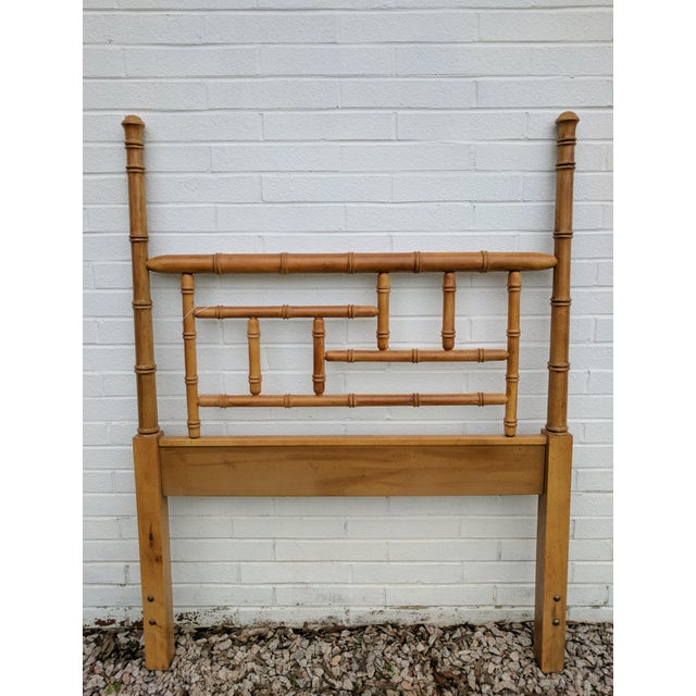 Mid 20th Century Faux Bamboo Chippendale Wooden Poster Twin Headboard For Sale - Image 5 of 9