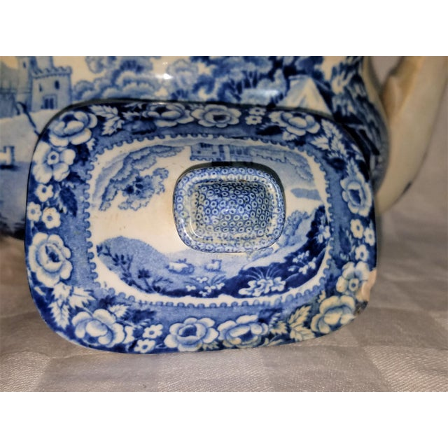 Staffordshire Ironstone Tea Pot, William Davenport, Staffordshire England 19th C., Classic Blue and White Transfer, For Sale - Image 4 of 6